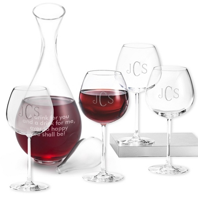 Set of Four Red Wine Glasses and Decanter