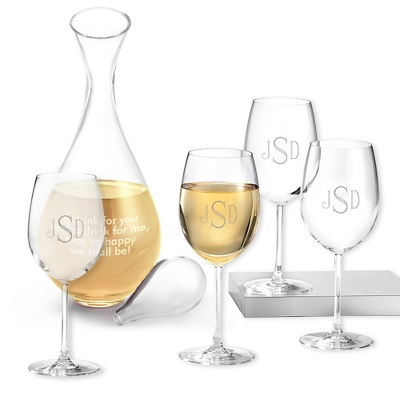 Set of Four White Wine Glasses and Decanter