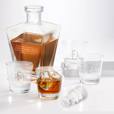Set of Four Double Old Fashioned Glasses and Liquor Decanter