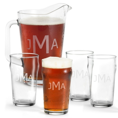 Set of Four British Pint Glasses and Pitcher