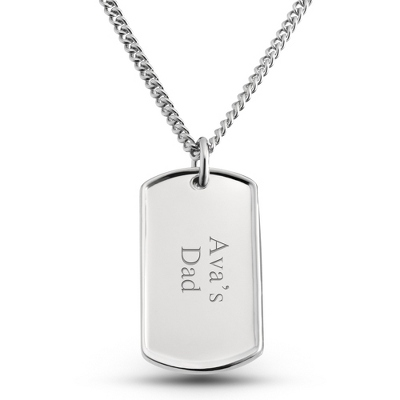 Dolan Bullock Sterling Silver Dog Tag- Horizontal with complimentary Tri Tone Valet Box