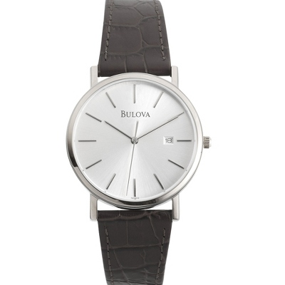 Men's Bulova Black Leather Strap Watch - $150.00