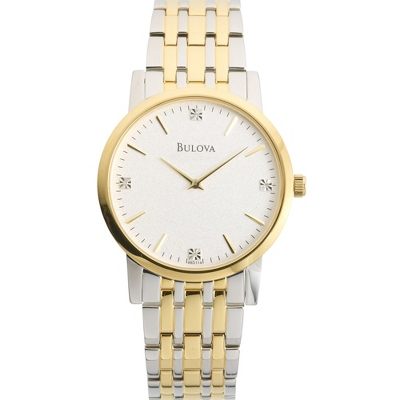 Personalized Men's Bulova Two Tone Watch with Diamond Accents