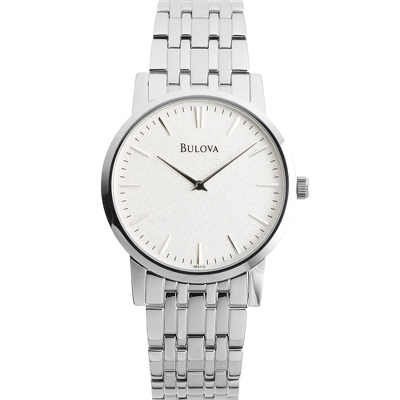 Men's Bulova Dress Silver Dial Watch 96A115 with complimentary Black Lacquer Wrist Watch Box - UPC 42429462182