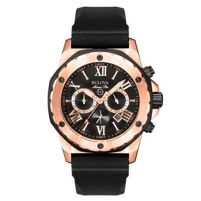 Men's Bulova Marine Star Rose Chronograph Watch 98B104 with complimentary Black Lacquer Wrist Watch Box - Groom