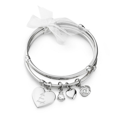 CZ Double Bangle with complimentary Classic Beveled Edge Round Keepsake Box