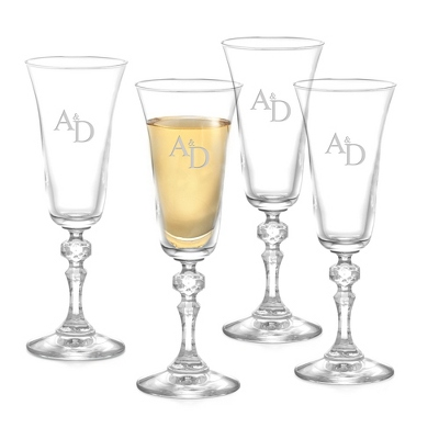 Set of 4 Bell Champagne Glasses with Monogram