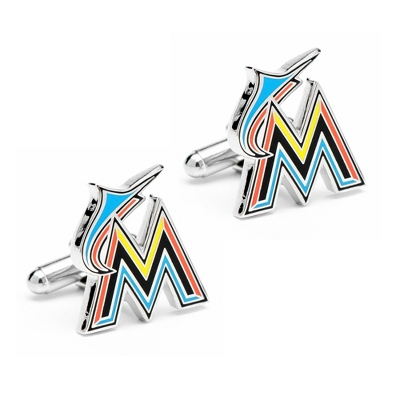 Miami Marlins Cuff Links with complimentary Weave Texture Valet Box - Tie Bars & Cuff Links