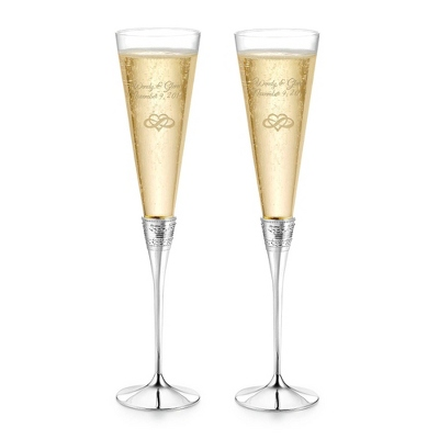 Engraved Silver Plated Wedding Champagne Flutes