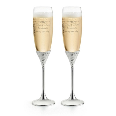 Engraved Champagne Flutes for Wedding