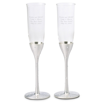 Silver Engraved Champagne Flutes - 16 products