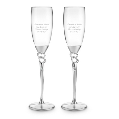 Double Open Heart Toasting Flute Set - Flutes & Servers