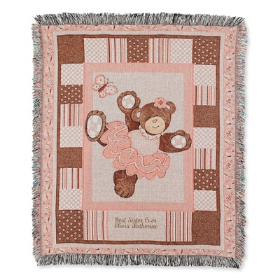 Pink Bear Throw