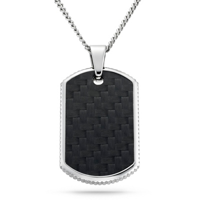 Carbon Fiber Dog Tag - Horizontal with complimentary Weave Texture Valet Box