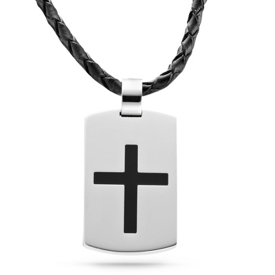 Leather Cross Dog Tag - Vertical with complimentary Tri Tone Valet Box - Men's Jewelry