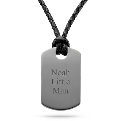 Boy's Gunmetal Leather Dog Tag - Vertical with complimentary Tri Tone Valet Box - Boy's Jewelry & Accessories