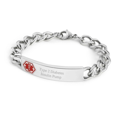 "8.5"" Medical ID Bracelet with complimentary Weave Texture Valet Box"