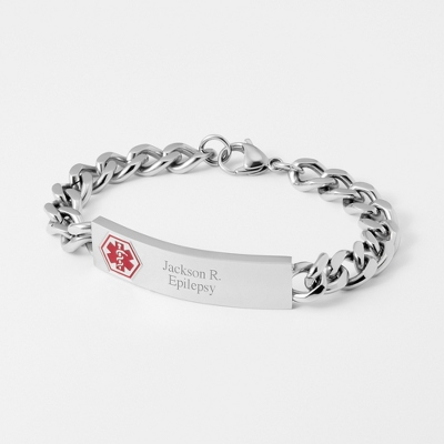 "7.5"" Medical ID Bracelet with complimentary Weave Texture Valet Box - UPC 825008296633"