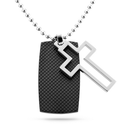 Black IP Cross Dog Tag - Vertical with complimentary Tri Tone Valet Box - Men's Jewelry