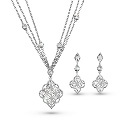 Nouveau Necklace & Earring Set - Bridal Jewelry