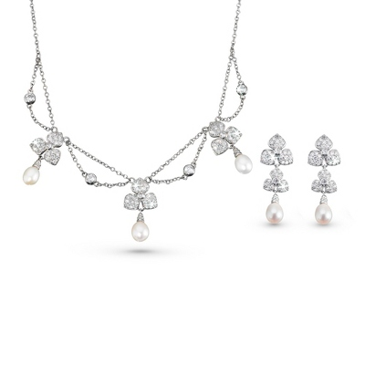 Dogwood Necklace & Earring Set - Bridal Jewelry