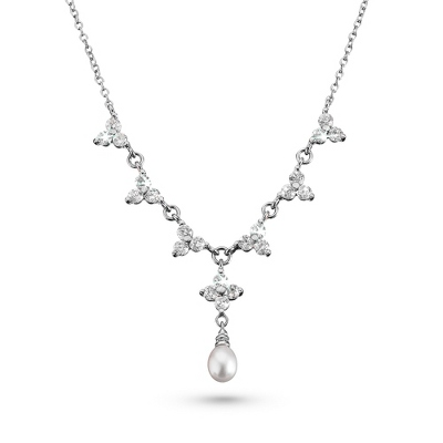 Grace Necklace with Freshwater Pearls - Bridal Jewelry