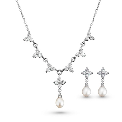 Grace Necklace & Earring Set with Freshwater Pearls - Bridal Jewelry