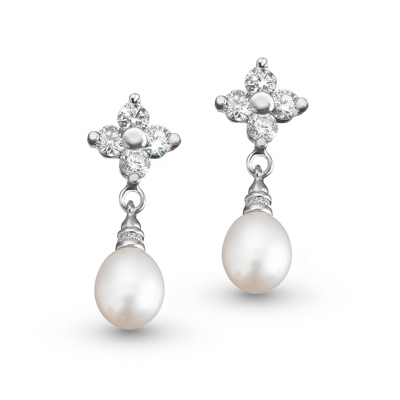 Grace Earrings with Freshwater Pearls - Bridal Jewelry