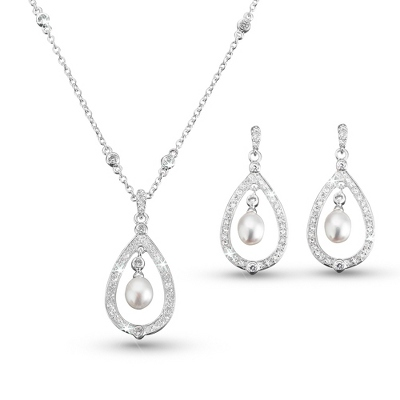 Freshwater Pearl Drop Necklace & Earring Set - Bridal Jewelry