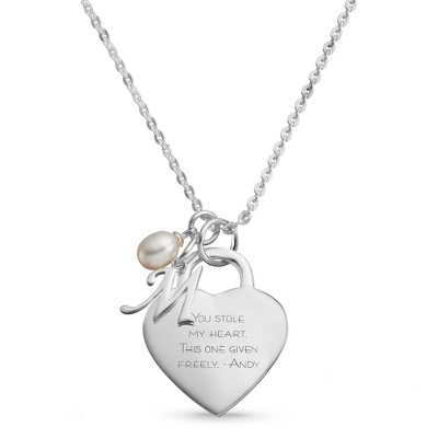 Sterling Silver Custom Heart Initial Necklace with complimentary Filigree Keepsake Box - $58.99