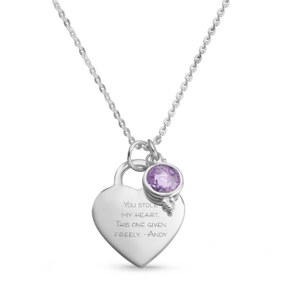 Sterling Silver Custom Heart Birthstone Necklace with complimentary Filigree Keepsake Box