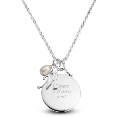 Sterling Silver Custom Round Initial Necklace with complimentary Filigree Keepsake Box - Sterling Silver Necklaces