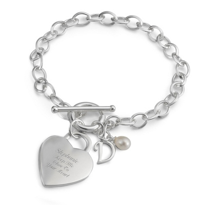 Sterling Silver Custom Heart Initial Bracelet with complimentary Filigree Keepsake Box - Sterling Silver Women's Jewelry