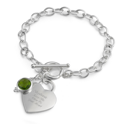 Sterling Silver Custom Heart Birthstone Bracelet with complimentary Filigree Keepsake Box - UPC 825008298071