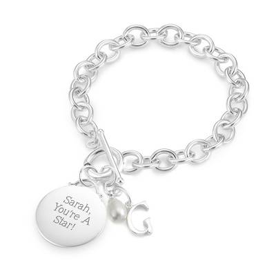 Sterling Silver Custom Round Initial Bracelet with complimentary Filigree Keepsake Box - Sterling Silver Women's Jewelry