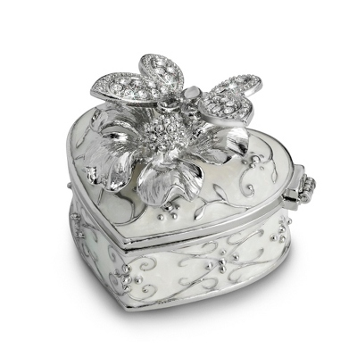 Miniature Silver Butterfly Secret Message Box