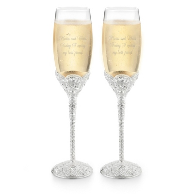Vintage Crystal Toasting Flutes for Weddings - 3 products