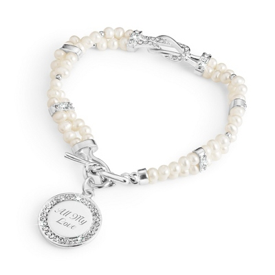 Love Knot Freshwater Pearl Bracelet with complimentary Filigree Oval Box - $40.00