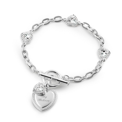 Floating Heart Bracelet with complimentary Filigree Keepsake Box - Fashion Bracelets & Bangles