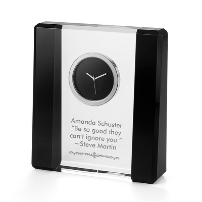 Black and Clear Crystal Desk Clock - UPC 825008298675