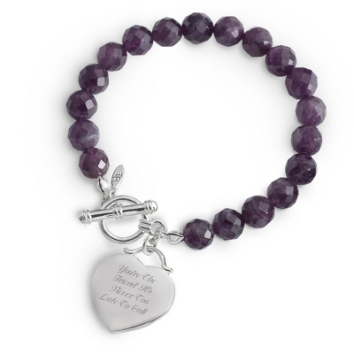 Personalized Amethyst Gemstone Bracelet with complimentary Filigree Keepsake Box - $19.99