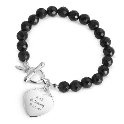 Personalized Onyx Gemstone Bracelet with complimentary Filigree Keepsake Box - $19.99