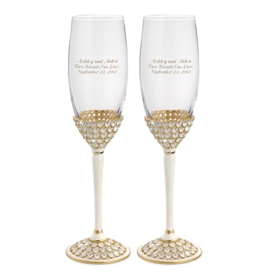Gold Royal Heart Toasting Flutes - Flutes & Servers