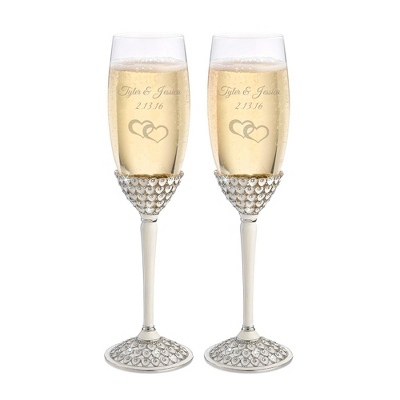 Silver Royal Heart Toasting Flutes - Romantic Wedding