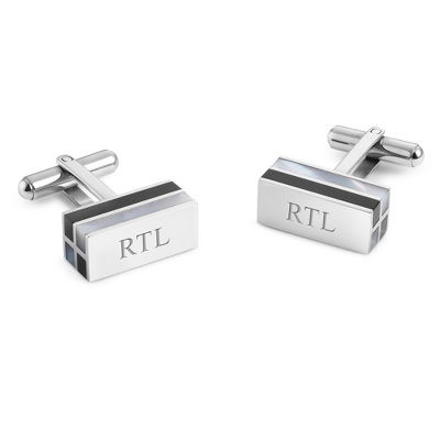 Mother of Pearl and Onyx Cuff Links with complimentary Weave Texture Valet Box