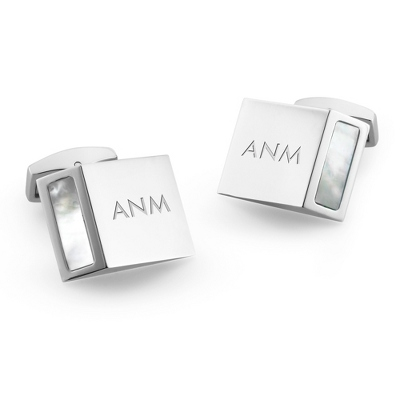 Mother of Pearl Wedge Cuff Links with complimentary Weave Texture Valet Box