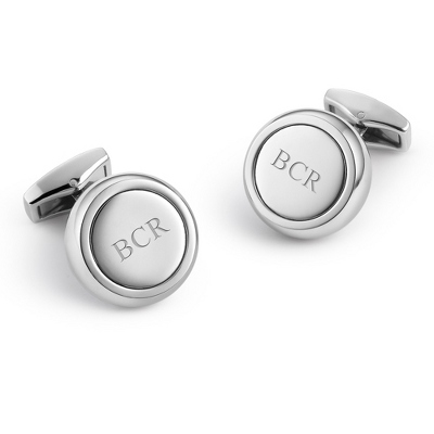 Stainless Steel Round Cuff Links with complimentary Weave Texture Valet Box