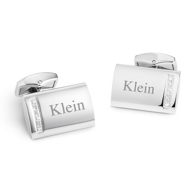 Stainless Steel Crystal Cuff Links with complimentary Weave Texture Valet Box