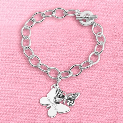Butterfly Charm Bracelet with complimentary Filigree Keepsake Box