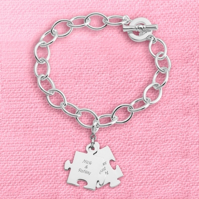Puzzle Piece Charm Bracelet with complimentary Filigree Keepsake Box - Couple's Gifts